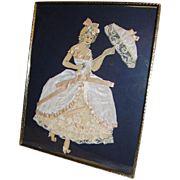 Vintage Ribbon Art Paper Doll Girl with Parasol