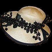 Fabulous Vintage Mr. John Classic Ladies Wide Brim Hat Black Cherries - Red Tag Sale Item