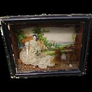 Victorian 1800's Miniature China Head Doll Diorama Shadowbox