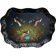 Early Toleware Tray Hand Painted Tole Tray Birds and Flowers Chippendale