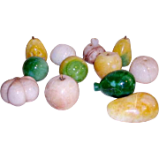 Vintage Alabaster Marble Stone Fruit 12 pcs Assorted Fruit