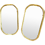 Vintage Pair Large Brass Oval Convex Glass Picture Frames 1940s