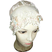 Gorgeous Vintage French Net Lace Silk Rosettes Boudoir Night Cap Bonnet