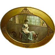 Early Victorian Wood and Ormolu Oval Frame Victorian Lady Color Litho