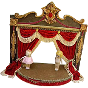 Vintage Rococo Style Doll or Puppet Theatre Stage Red Velvet Curtains