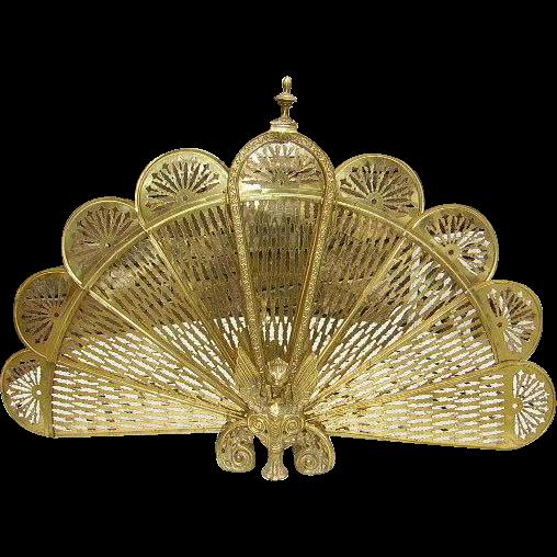 Vintage Brass Peacock Folding Fireplace Screen Gargoyles