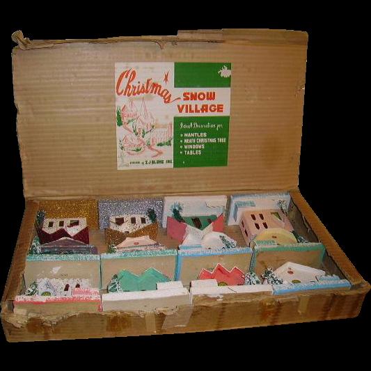 Vintage Christmas Snow Village Putz Houses In Original Box