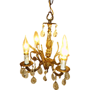 Vintage Petite Spanish Brass Chandelier Light Prisms