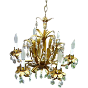 Vintage Italian Gilt Tole Prisms Chandelier 6 Light