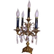 Gorgeous Vintage Spanish Brass Candelabra Lamp Crystal P;risms Lamp