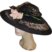 Fabulous Vintage Large Black Wide Brimmed Ladies Hat 1940s