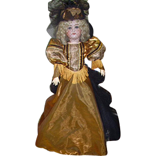 """Antique Kestner Bisque  Doll 28"""" Fabulous Gown and Hat"""
