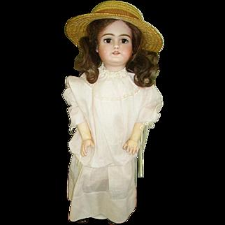 "Cute German Handwerck Bisque Head Doll 21"""