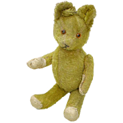 Vintage Mohair Jointed Teddy Bear Straw Filled Excelsior