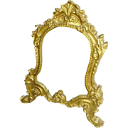 RESERVED FOR T -Antique French Gilt Wood Rococo Vanity Tabletop Mirror Easel Stand