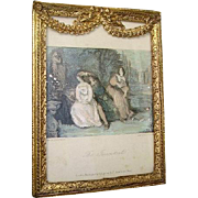 Antique French Ormolu Barbola Swags Cherubs Picture Frame