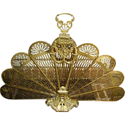 Vintage Brass Peacock Folding Fan Fireplace Screen Lady Cameo