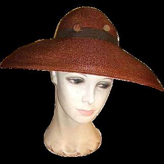 Vintage Gorgeous Classy Large Wide Brimmed Ladies Hat Pogue's Cincinnati