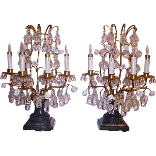 Gorgeous Vintage Pair Girandoles Lamps Table Chandeliers French Porcelain Flowers Crystal Fruit