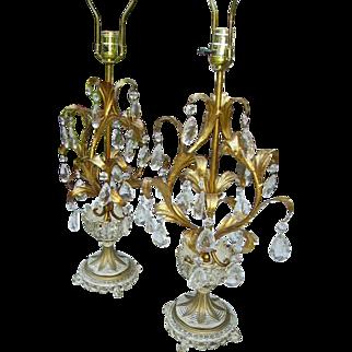 Gorgeous Vintage Italian Gilt Tole Prisms Large Lamps Pair