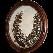 Victorian Mourning Hair Wreath Oval Shadowbox Frame Massachusetts