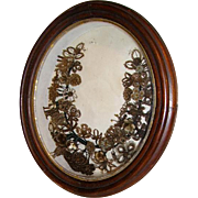 Victorian Mourning Hair Wreath Oval Shadowbox Frame Massachusetts