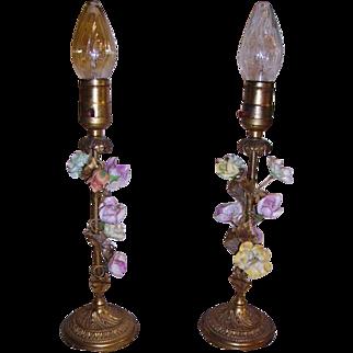 French Ormolu Porcelain Flowers Boudoir Lamps Pair 1930s