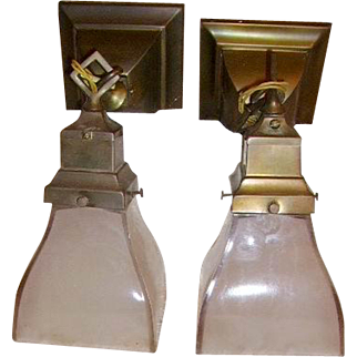 Antique Mission Style Arts & Crafts Wall Sconce Lights Pair with Frosted Shades