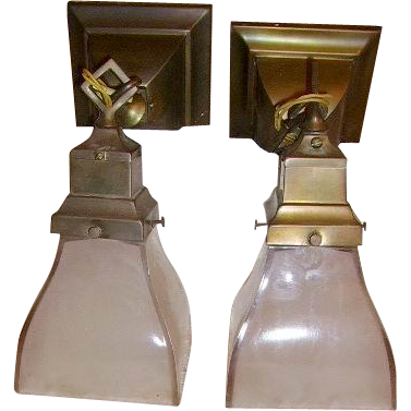 Antique Mission Style Arts & Crafts Wall Sconce Lights Pair with from huntwoodantiques on Ruby Lane