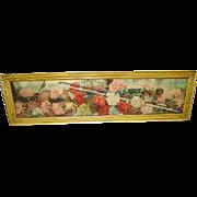 Antique Victorian Yard Long Print of Carnations Original Frame