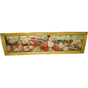 Antique Victorian Yard Long Print of Carnations Original Frame