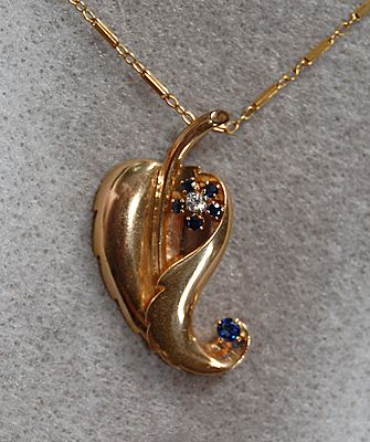 Retro PENDANT & CHAIN - 14K Gold, Sapphires, Diamond  (Leaf Pendant)