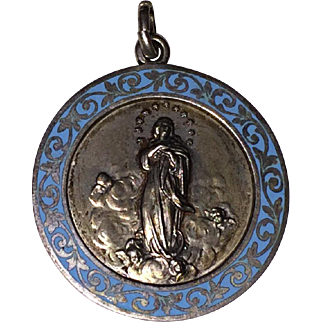 Vintage RELIGIOUS MEDAL / MEDALLION - 800 Silver, Blue Enamel, ROMA