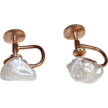 Antique BAROQUE PEARL EARRINGS - 14k gold - non pierced