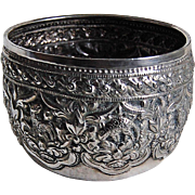 THAI SILVER BOWL w/ ANIMALS - Old / Solid Silver / heavily embossed Animal & Flowers
