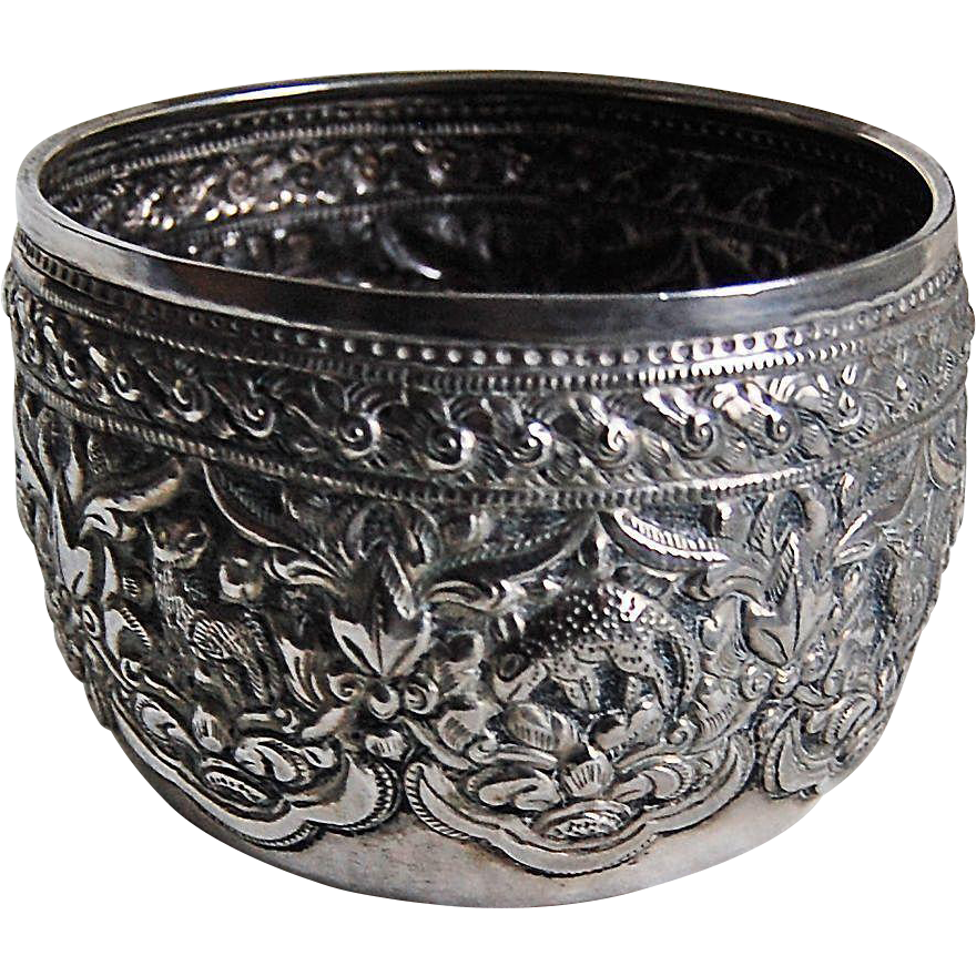 THAI SILVER BOWL - ANIMALS - Solid Silver, heavily embossed Animal & Flowers