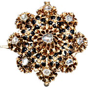 Large antique ROSE DIAMOND BROOCH - black enamel, 14K Gold - circa: 1840