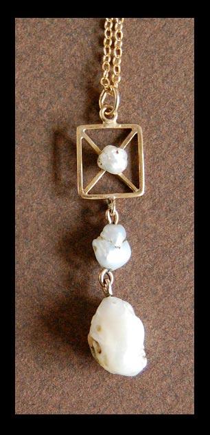 Antique Lavalier - BAROQUE PEARL Necklace, c1900