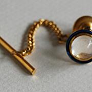 Vintage MOONSTONE TIE TAC - 14k Gold / blue Enamel