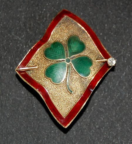 "Victorian Brooch / Pendant -  ""4 LEAF CLOVER"" - Gold, Enamel, Diamond"