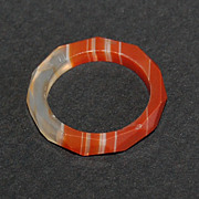 Antique Child's Ring:  BANDED AGATE RING (orange)