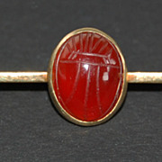 c1920, SCARAB BROOCH - 14k Gold Bar Pin (Safety Pin Type)