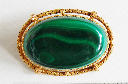 Large antique MALACHITE BROOCH / 18K Gold frame