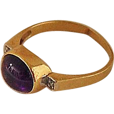 vintage AMETHYST RING - 14K Gold / Diamonds / Cabochon / Signed