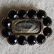 Victorian HAIR LOCKET BROOCH - 14k Gold & black Onyx