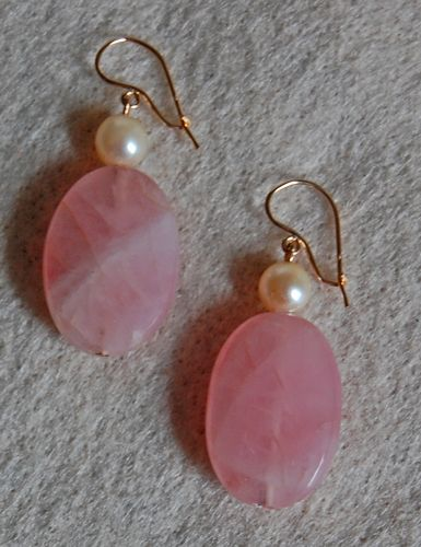 Vintage ART DECO EARRINGS - 14K Gold / Rose Quartz / Pearl