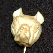 Antique DOG STICK PIN - 14K Gold, Bone - Carved Dog's Head (Bulldog?)