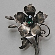Signed Vintage 1940's STERLING BROOCH - Flower (Carl Art, Inc)