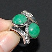 Large Vintage JADE & DIAMOND Ring - 14K White Gold