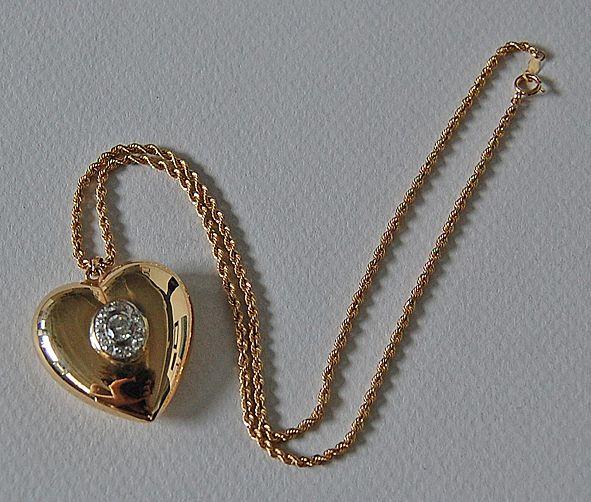 Vintage diamond heart pendant heart necklace puffy 14k gold vintage diamond heart pendant heart necklace puffy 14k gold rope chain mozeypictures Image collections